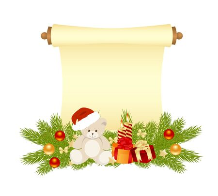 manuscript: Christmas manuscript with bear, gift, and balls isolated on a white background. vector illustration