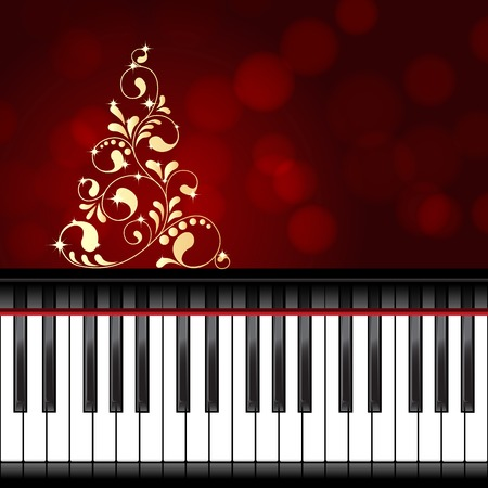 Abstract christmas background with piano keyboard. vector illustration