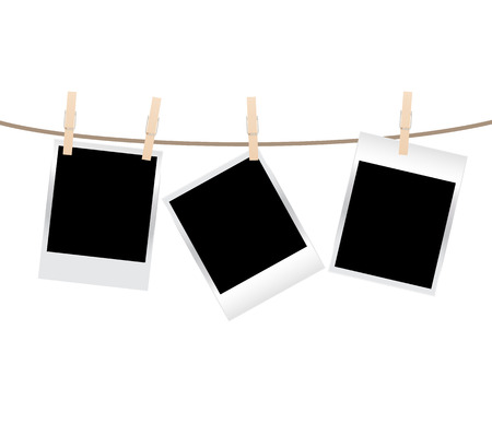 picture: vector blank photo frames on a clothesline isolated on white background
