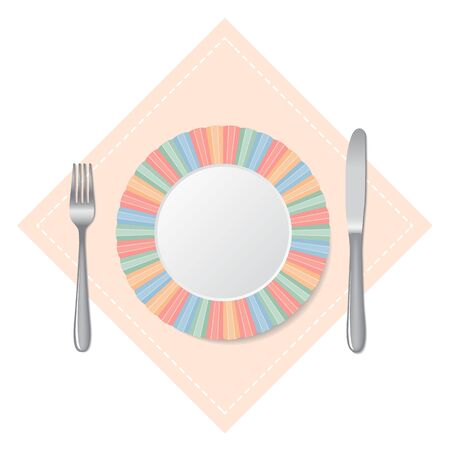 Cutlery, knife and fork, plate. On a white background. Vector illustration Illustration
