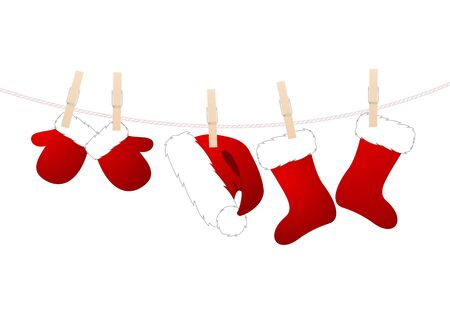 santa suit: Santa  suit hanged on a clothes line on a white background. Vector illustration.