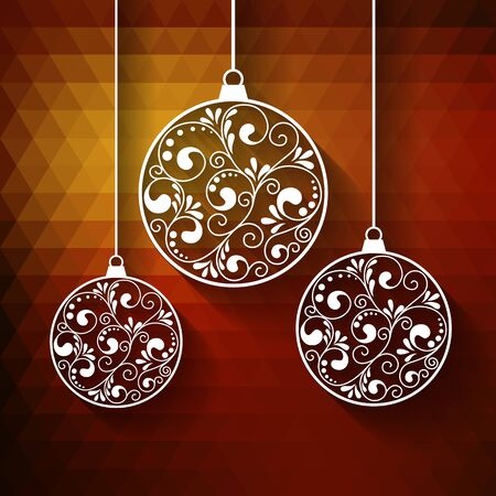 swirls vector: Ornamental Christmas balls with paper swirls, vector background