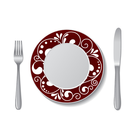 plate: trees decorated a plate with knife and fork. vector illustration Illustration