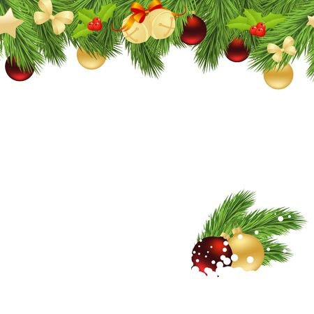 isolated: Holiday background with fir twigs and christmas balls. Vector illustration