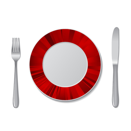 isolated: Cutlery. Knife and fork, plate. On a white background. Vector illustration