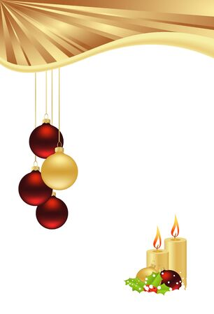 christmas candle: christmas template with hanging balls and candles isolated on white background. vector illustration Illustration