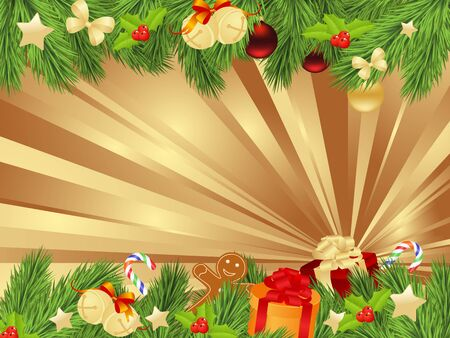 twigs: Christmas background with fir twigs and balls. Vector illustration. Illustration