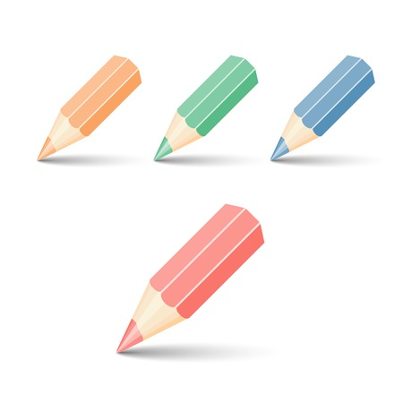 colored pencil: Set of colour pencils for drawing. vector illustration. Isolated on white background