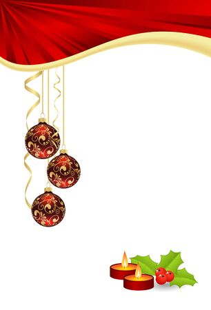 christmas candle: christmas template with candles and hanging balls isolated on white background. vector illustration