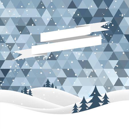 snow landscape: winter night landscape. Merry Christmas. vector illustration Illustration