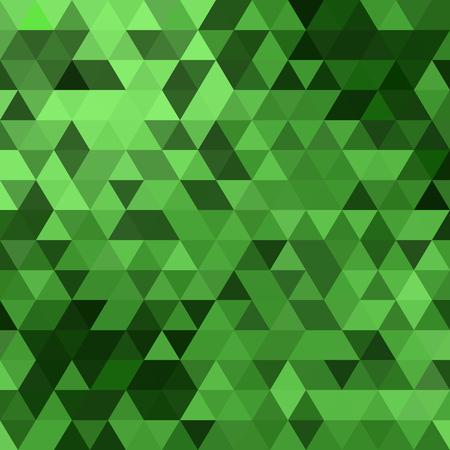 三角形は、緑の背景デザインをベクトルします。シームレス パターン。抽象モダンなモザイク パターン。レトロなポスター、カード、チラシ、また