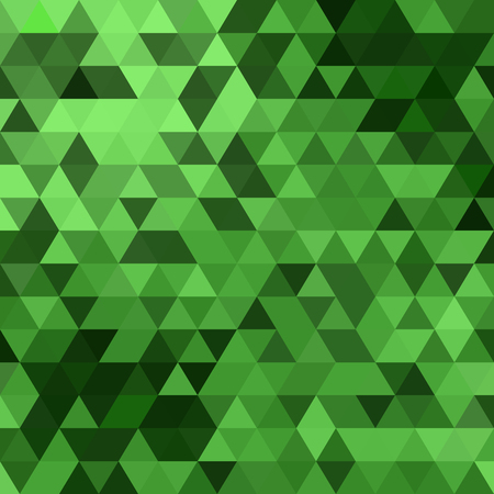 Triangles vector green background design. Seamless pattern. Abstract modern mosaic pattern. Retro poster, card,flyer or cover template.