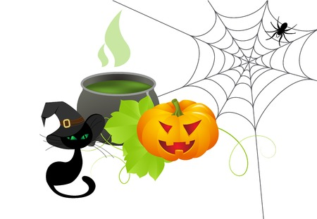 pócima: Fondo de Halloween con poción mágica en un caldero Vectores