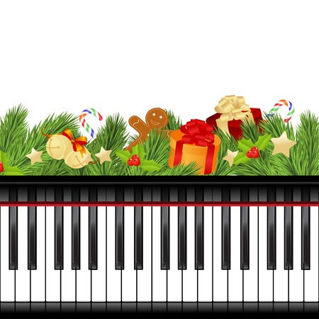 klavier: Weihnachten-Vorlage mit Dekorationen und Klaviertastatur. Vektor-Illustration.