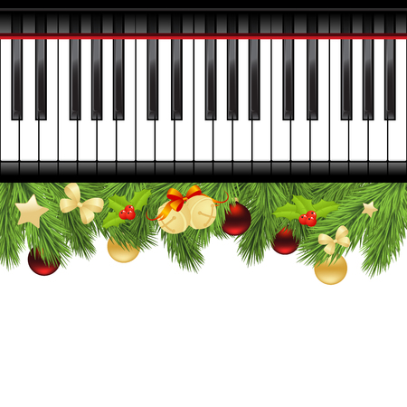 piano keyboard: Christmas template with decorations and piano keyboard. Vector illustration.