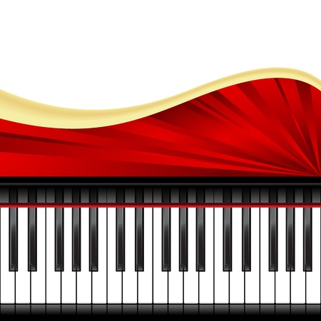 instrumentalist: Template with piano keyboard isolated. Vector illustration