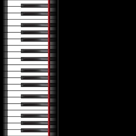 piano: Plantilla con teclado de piano en el fondo negro. Ilustraci�n vectorial