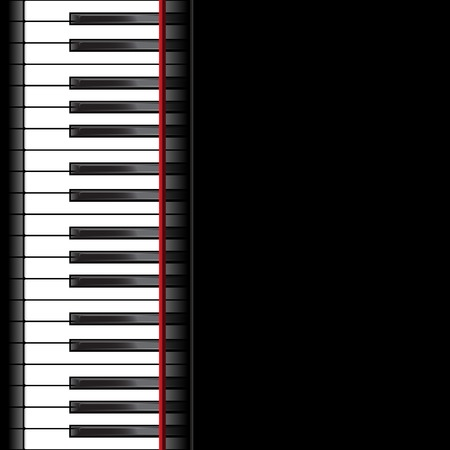 Template with piano keyboard on black background. Vector illustration Stock Illustratie