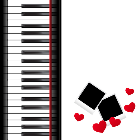 Template With Piano Keyboard On White And Background Vector Illustration Stock