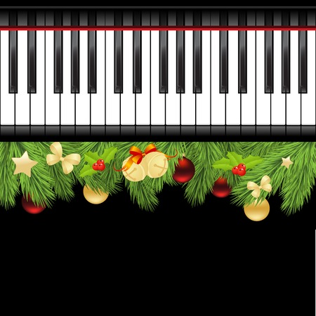 black piano: Christmas template with decorations and piano keyboard. Vector illustration.