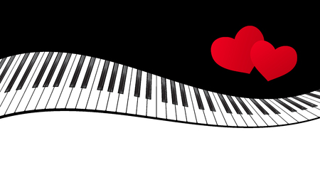 soundtrack: Piano template with two hearts ,music creative concept illustration. Vector