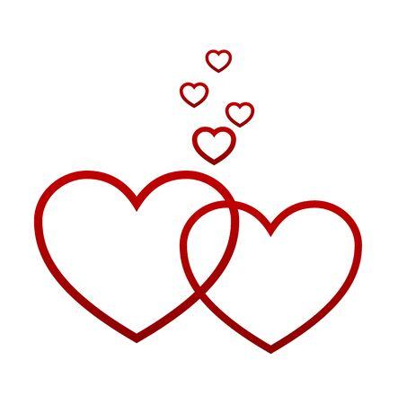 Corazones rojos aislados en el fondo blanco, ilustración vectorial