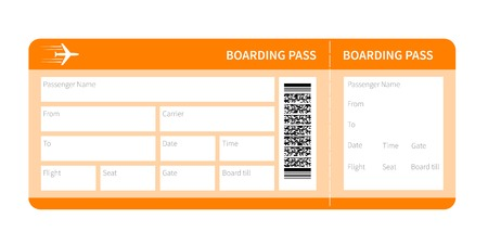 Airplane ticket blank space. yellow boarding pass coupon isolated on white background. Vector illustration Ilustracja