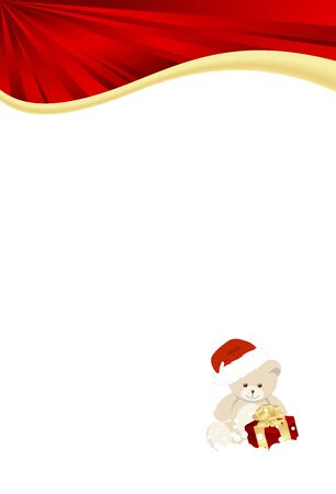 plush toy: christmas template with plush toy and gifton white background. vector illustration