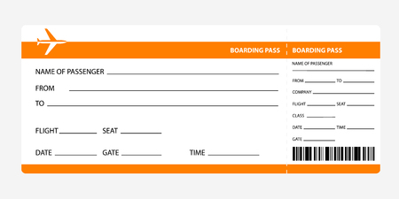 Airplane ticket blank space. orange boarding pass coupon isolated on white background. Detailed blank of plane ticket. Vector illustration
