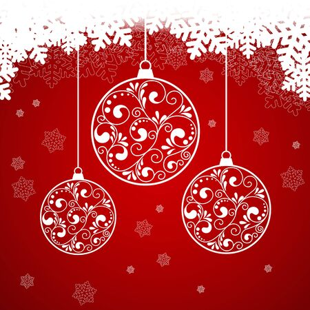 blurry lights: Red Christmas background with snowflakes and blurry lights. vector illustration Illustration