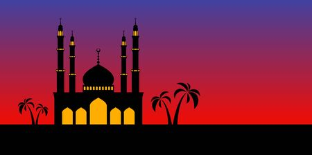 masjid: Mosque or Masjid isolated on blue background. vector illustration Illustration