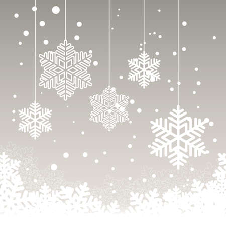 holiday ornament: Christmas card with snow on grey background and place for your text. Vector illustration.