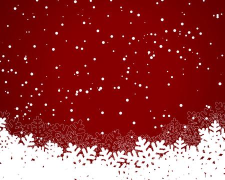 Kerst en Oud en Nieuw rode achtergrond met papier sneeuwvlokken. vector illustratie