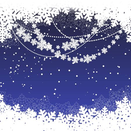 snowscape: winter blue template with snowflakes. Merry Christmas. vector illustration Illustration