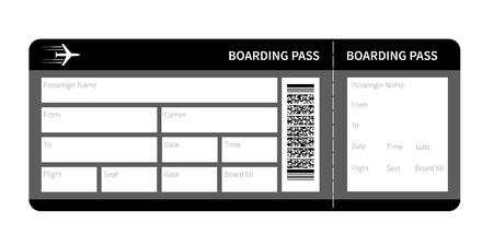 Luchtvaartmaatschappij boarding pass card ticket geïsoleerd. vector illustratie