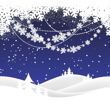 snowscape: winter night landscape. Merry Christmas. vector illustration Illustration