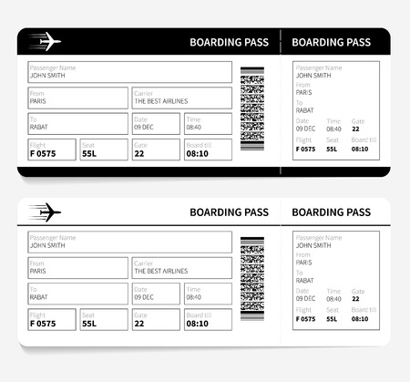 air ticket: Airline boarding pass card ticket isolated. Vector illustration