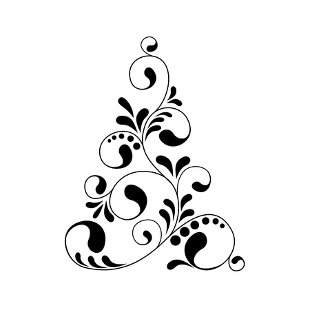 Abstract Christmas tree. Greeting, invitation card. Simple decorative black and white. vector illustration