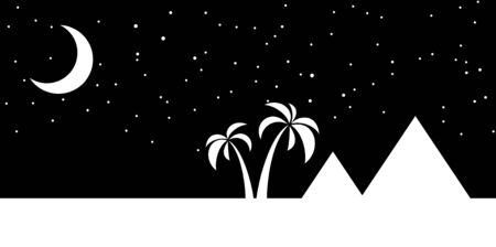 nights: Nights sky over the pyramids in Egypt with a crescent moon. vector illustration Stock Photo