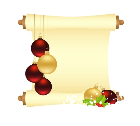 manuscript: Christmas manuscript with decorations and balls. Vector illustration. Illustration