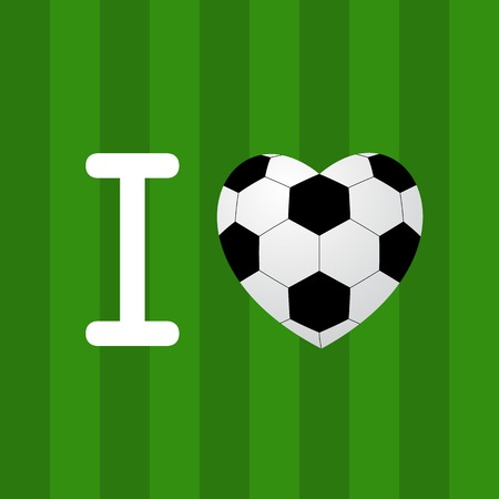 soccer field: soccer ball heart isolated on green background. vector illustration
