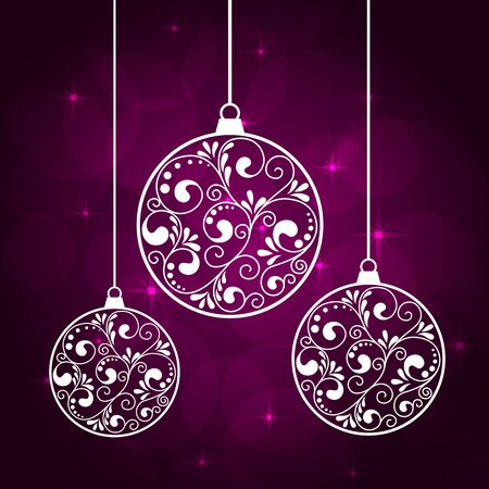 chrismas background: abstract violet background with hanging chrismas balls and stars. Illustration