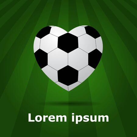 pitch: soccer ball heart on green background or pitch. Illustration