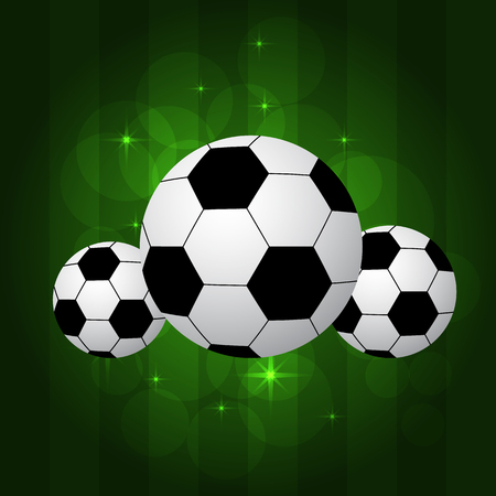 pitch: soccer balls on shiny green background or pitch. Illustration