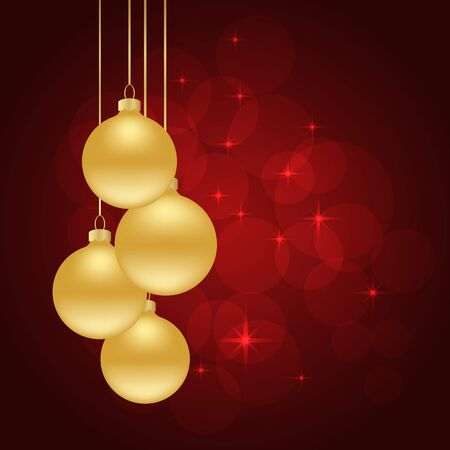 gold and red: red Christmas background with Christmas balls.
