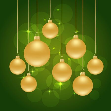 christmas balls: green Christmas background with Christmas balls. Illustration