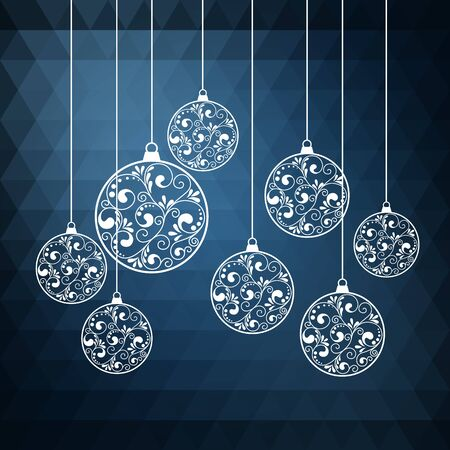 Ornamental Christmas balls with paper swirls. vector illustration