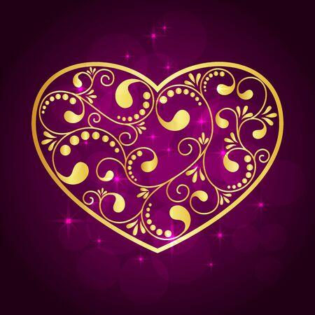 gold heart: gold heart on violet background. vector illustration