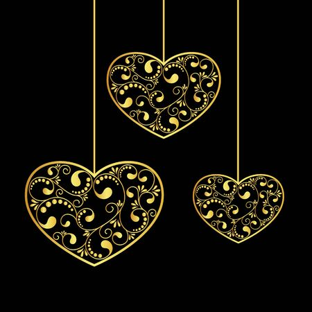 gold textured background: gold hearts textured hanging on black background. vector illustration