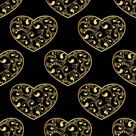gold textured background: gold hearts textured on black background. vector illustration Illustration